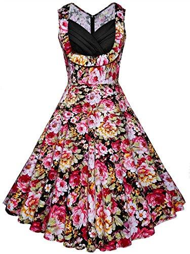 DONWORD Women's Floral Audrey Hepburn Vintage 1950s Rockabilly Polka Cocktail Swing Dress Party (XXL, Pink Floral) -