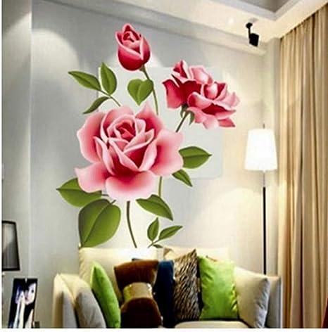 ZBYLL Pegatinas De Pared Amor Romántico 3D Rose Florales ...