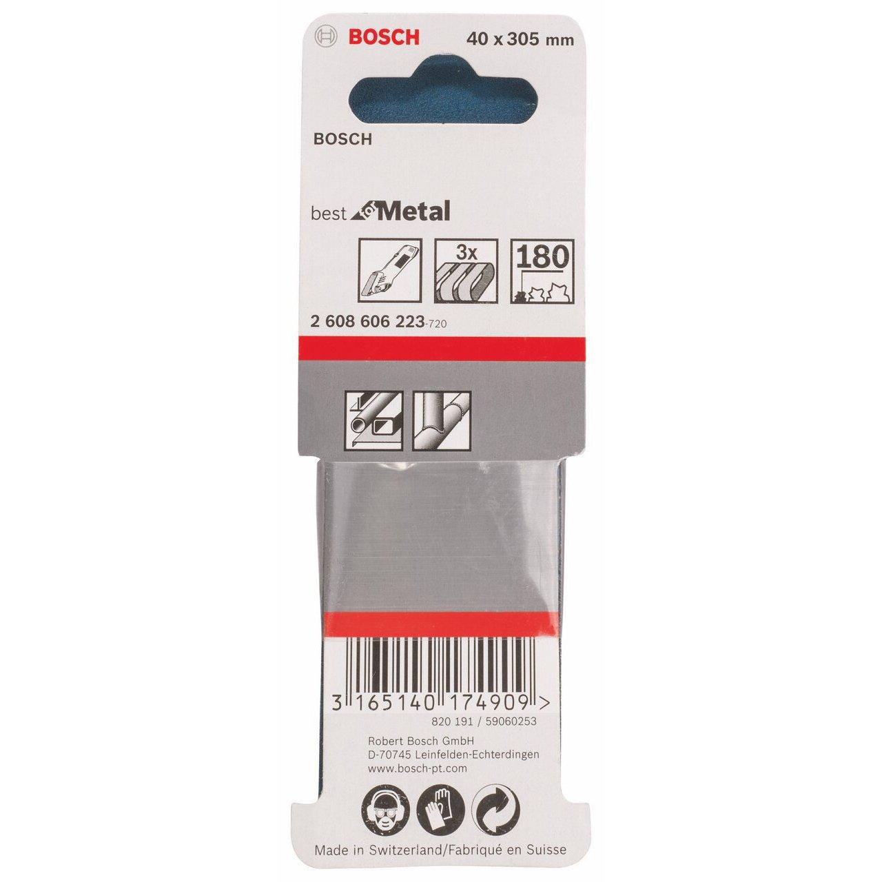 0 V Blue Bosch 2608606223 Sanding Belt-Set for K180 Metal Set of 3 Piece 40 mm x 305 mm