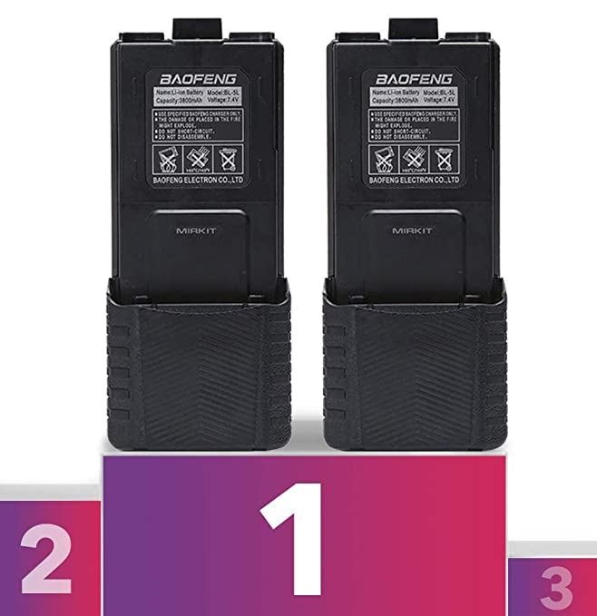 2pc Baofeng BL-5 3800mAh Extended Batteries Compatible with UV-5R BF-8HP UV-5RX3 RD-5R UV-5RTP UV-5R+, UV-5X3, Rechargeable Extended Baofeng Accessories Battery by Mirkit Radio USA Warranty