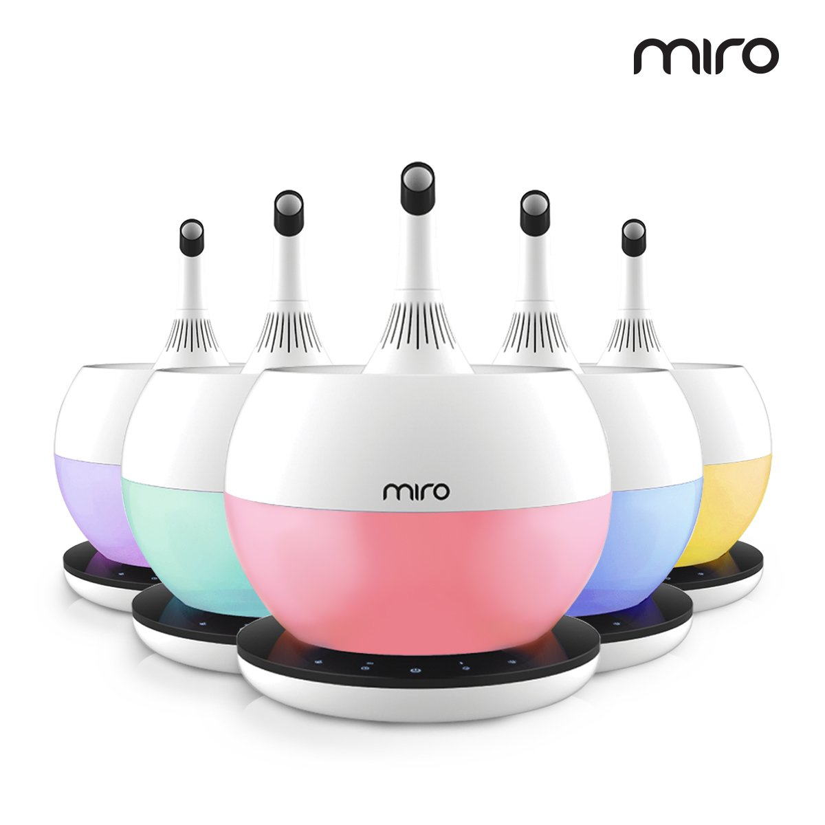 Miro NR-08 ''Luma Touch'' Premium Cool-mist Humidifier. Sanitary, Washable Design, with Aromatherapy Functions, Touch control and Colorful LEDs