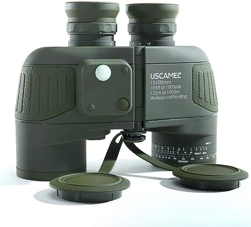 Prismáticos Binoculares Plegable,Militar 10X50 HD Marinos Zoom Telémetro BrújulaOcular Impermeable Nitrógeno Ejército Verde Telescopio, para Observación de Aves, Conciertos, Actividades al Aire Libre