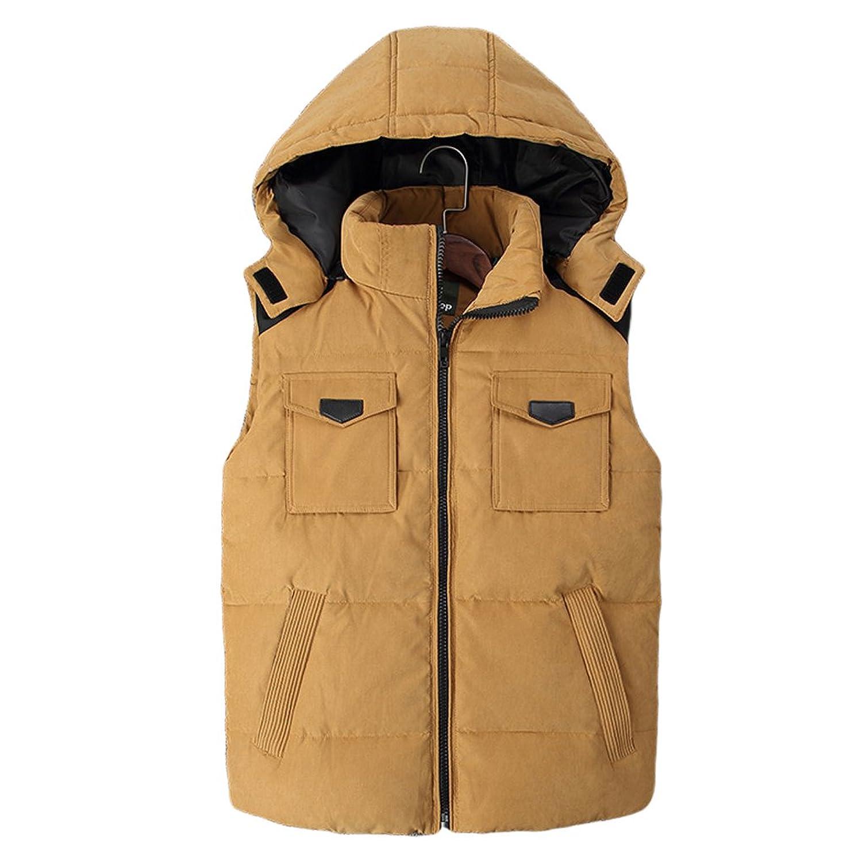 Zhhlinyuan Men's Winter Zipper Vest Removable Hood Sleeveless Down Jacket