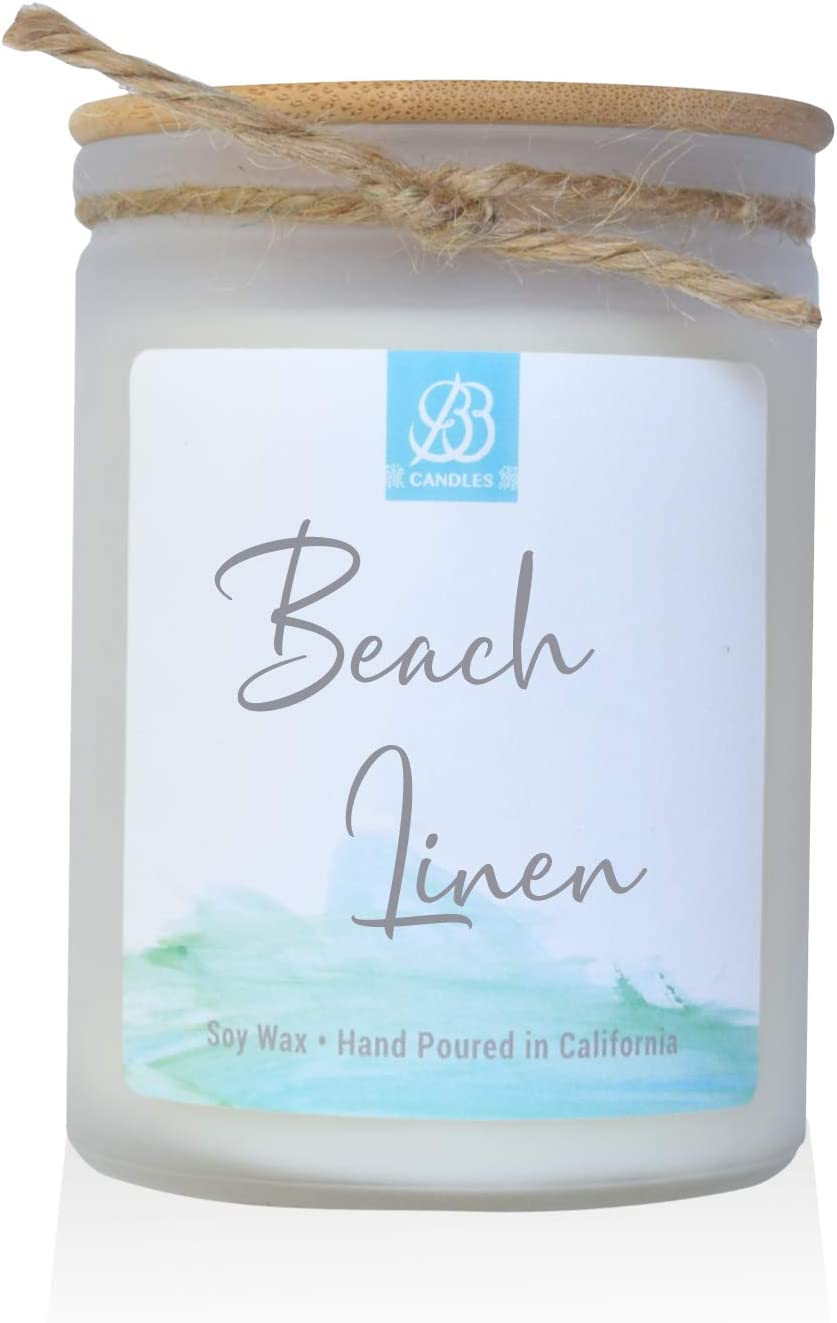 BB Candles Coastal Essentials Natural Soy Hand Poured Candle, Beach Linen Scent, Fragrant Coastal Candle with Strong Scents, Artisan Candle, 12oz, 90+ Hours Burn Time