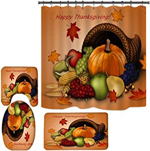 Noomer Happy Thanksgiving Day Home Bathroom Decor Harvest Festival Pumpkin Shower Curtain, Waterproof Polyester Bath Curtains with Hooks , Non-Slip Rug, Toilet Lid Cover and Bath Mat