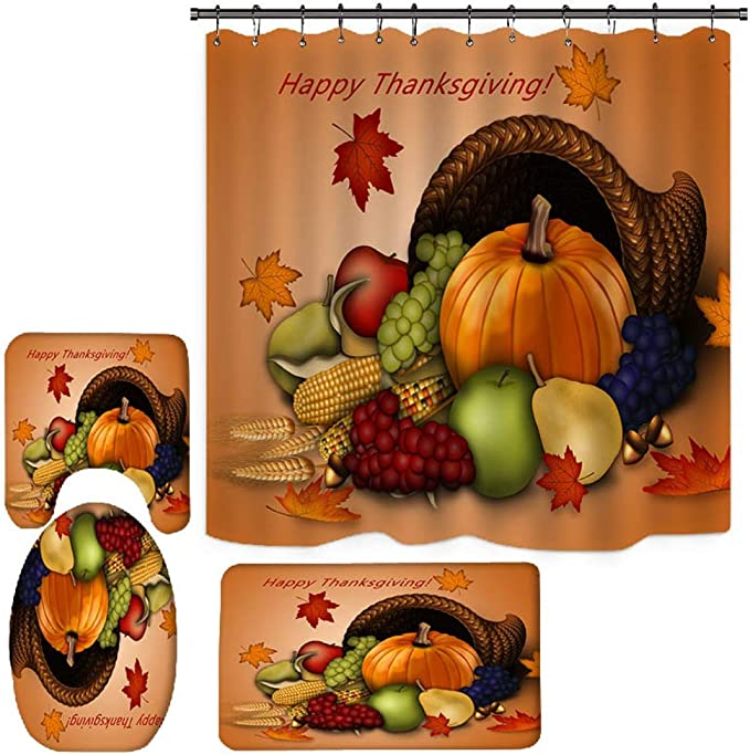 Happy Thanksgiving day Harvest Festival Waterproof Shower Curtain 66x72 Inches