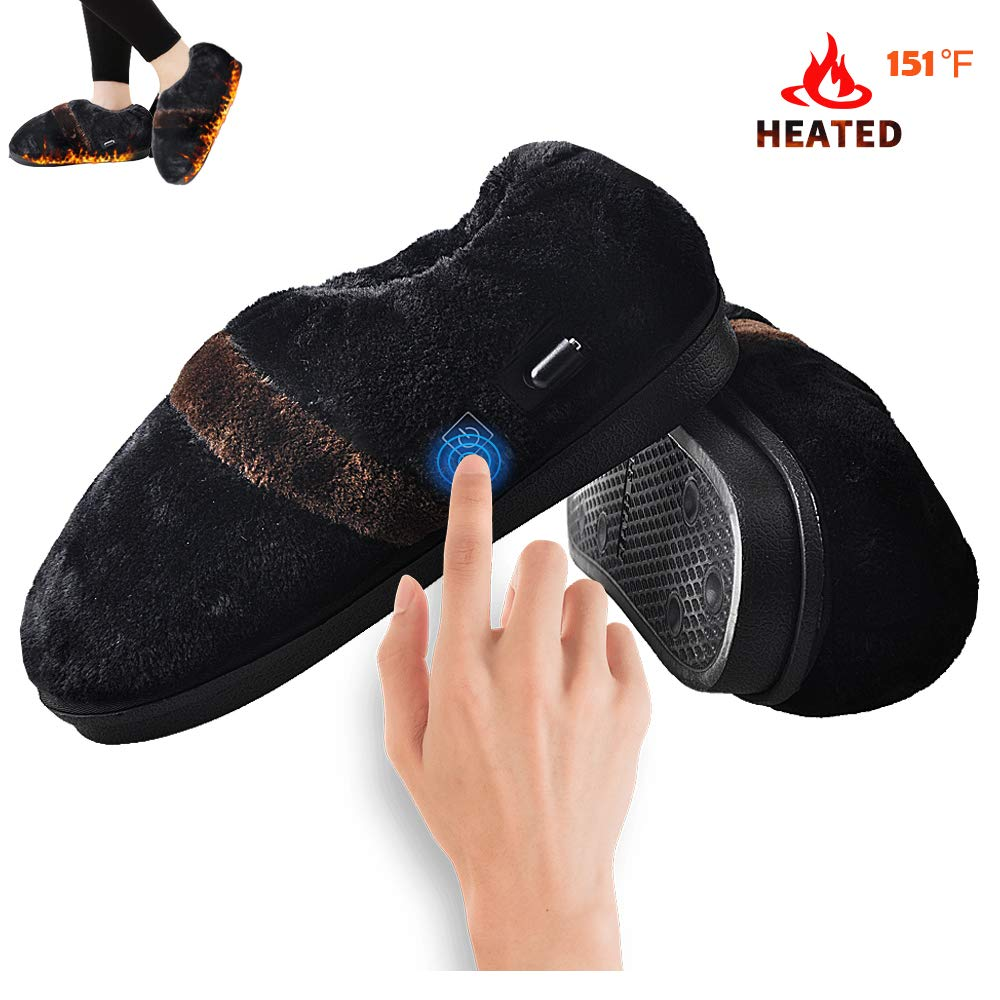 Heated Slippers,Amiable Heat Foot Warmer for Men Women, USB Electric Heating Slippers Shoes for Size 5-10.5 of Men's Feet and Size 4.5-12 of Women's Feet (Black)