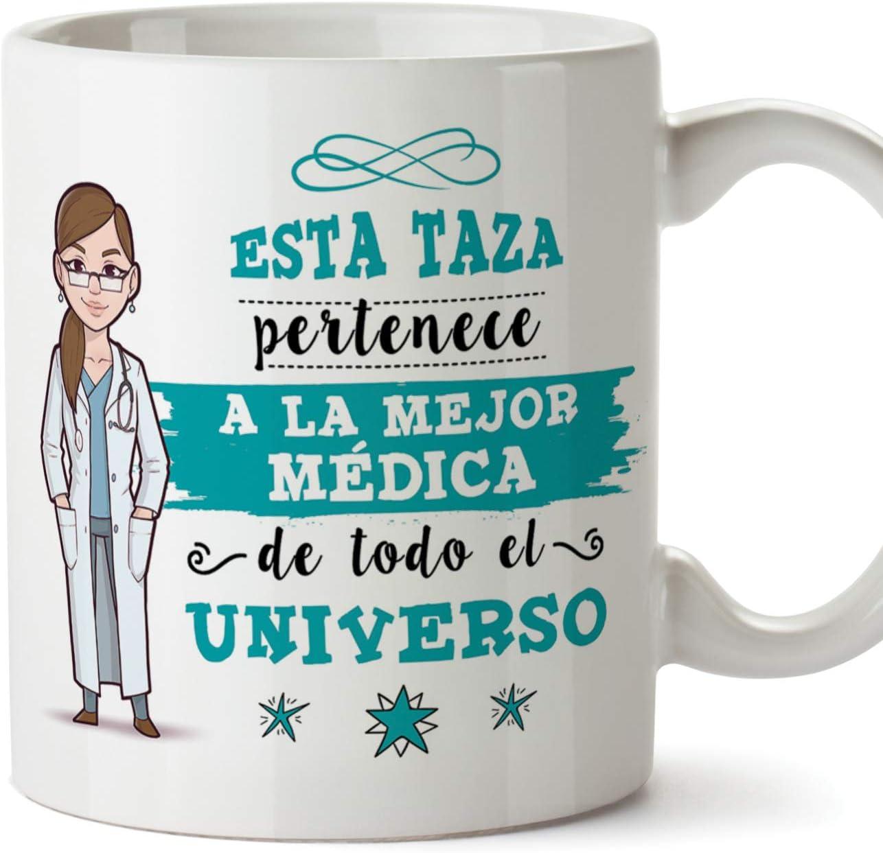 MUGFFINS Médica Tazas Originales de café y Desayuno para Regalar a Trabajadores Profesionales - Esta Taza Pertenece a la Mejor Médica del Universo