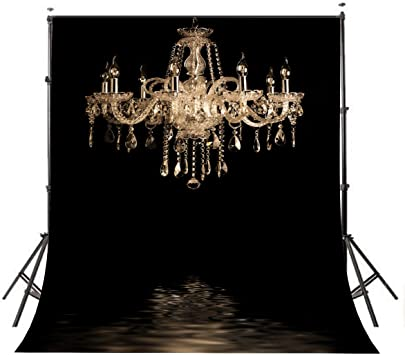 Lyly County Photography Background 5x7ft European Gorgeous Crystal Chandelier Black Backdrop Studio Props Indoor Decorations(Upgrade Material) LY024