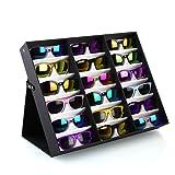 FEMOR Noir Presentoir pour 18 Paires Lunettes Coffret/Boîte Support Stand Boîte Rangement Protection pour Les Lunettes de Soleil