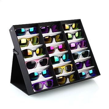 FEMOR Noir Presentoir pour 18 Paires Lunettes Coffret Boîte Support Stand Boîte  Rangement Protection pour 2c65af5584a8