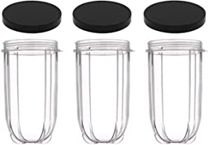 16oz Cups 6 Piece Set - 3 Replacement Cups WITH LIDS for Magic Bullet Blender LIDS INCLUDED