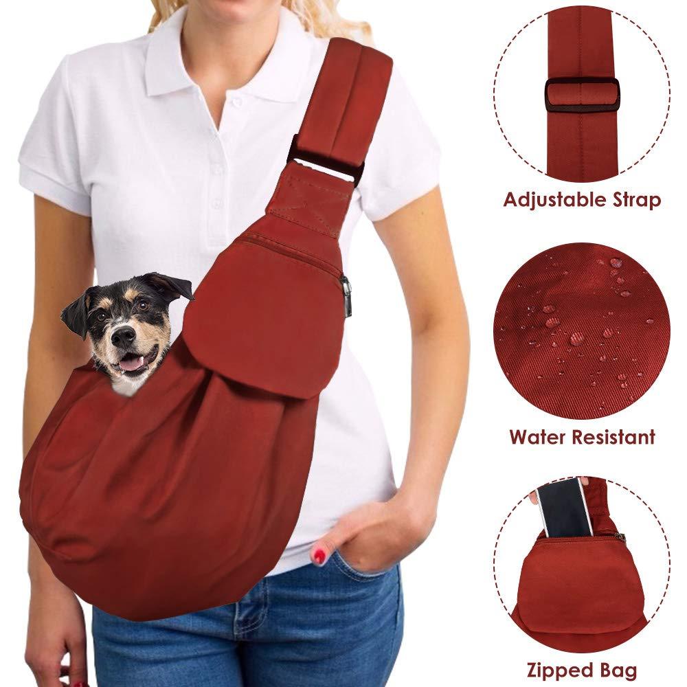 Lukovee Pet Sling, Hand Free Dog Sling Carrier Adjustable Padded Strap Tote Bag Breathable Cotton Shoulder Bag Front Pocket Safety Belt Carrying Small Dog Cat Puppy Machine Washable (Brick Red) by Lukovee