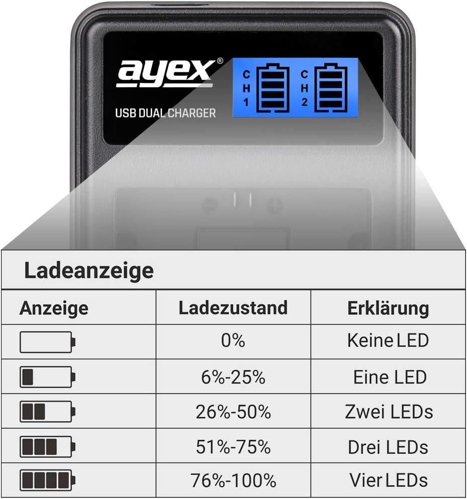 ayex USB Dual Charger Ladegerät für Nikon EN-EL3e Kamera-Akkus
