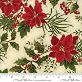Moda Christmas Gilded Greenery Metallic Poinsettia Holly Natural