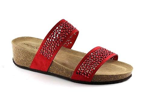 zapatillas de cuña roja de diamantes de imitación de cuero sandalias de las mujeres Grünland ANIN CB1480 40: Amazon.es: Zapatos y complementos