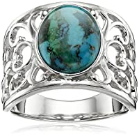 Sterling Silver Synthetic Compressed Turquoise Filigree Band Ring, Size 7
