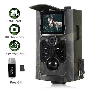 SUNTEKCAM [2019Actualizado] Wild Cámara de Caza 16 MP 1080P FHD Cámara Vigilancia Visión Nocturna IP65 Impermeable 2.0 LCD hasta 20m para Fauna ...