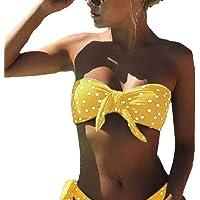CheChury Bikini Mujer 2021 Dos Piezas Ropa con con Estampado de Lunares Traje de baño Conjunto de Bikini Push-Up Verano…