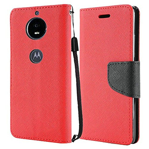 (Luckiefind Case Compatible with Motorola Moto E5 Play/Moto E5 Cruise, Premium PU Leather Flip Wallet Credit Card Cover Case Accessories (Wallet Red))