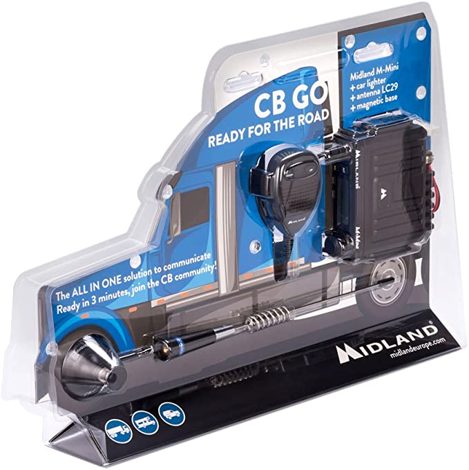 Midland CB-GO Radio CB M-Mini + Antena LC29 cod C1262.02, Negro