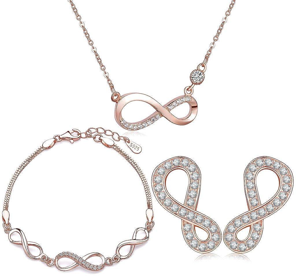204c25d3b Yumilok Jewelry 925 Sterling Silver Rose Gold Plated Cubic Zirconia  Infinity Love Pendant Necklace Bracelets Earrings Jewelry Set for Women/ Girls: ...
