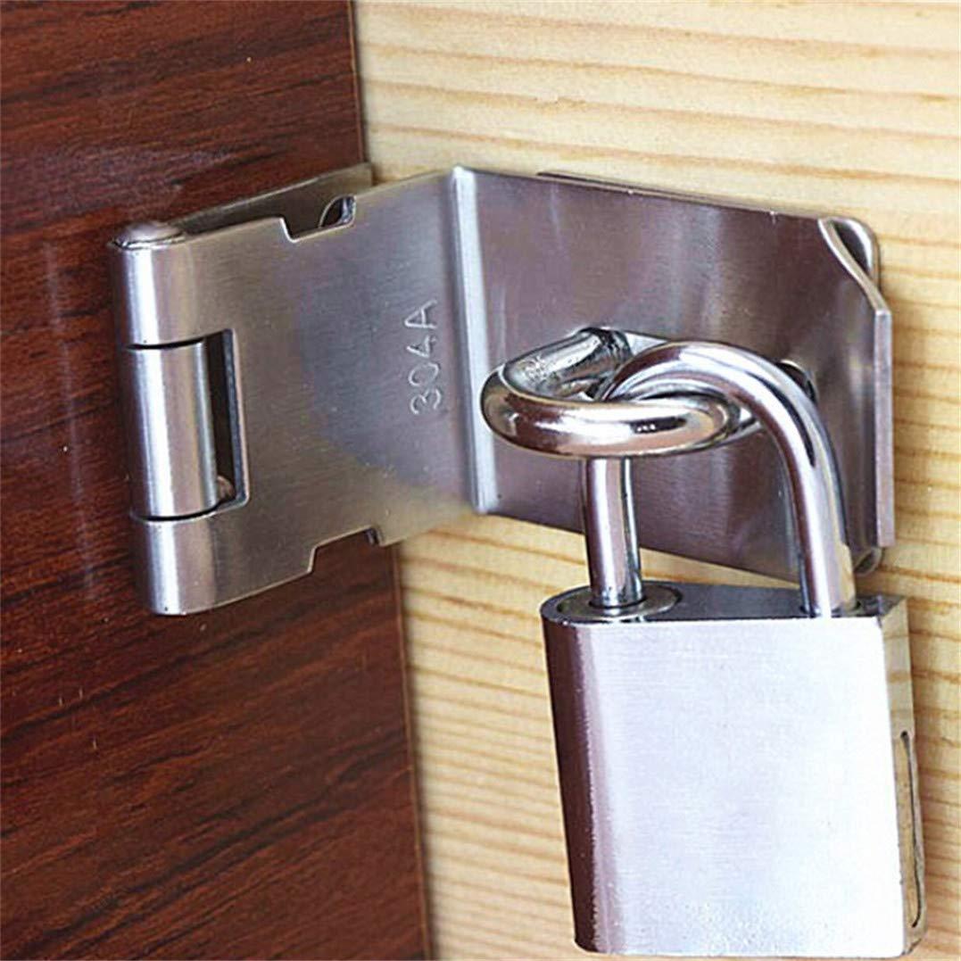3 inch Weryffe Heavy Padlock Vintage Stainless Steel Hasp Door Lock 90 Degree Right Angle Door Clasp Door Latch for Doors Drawer and Windows