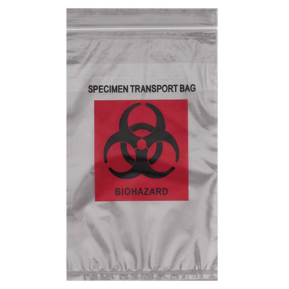 Action Health STB609-1.7 Econo-Zip Specimen Transport Bag, 6W x 9H, 1.7 mil, 3-Wall, Red/Black Biohazard
