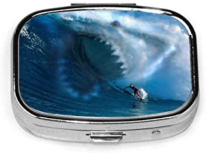 GRTING Shark Attack Surfer Pill Case 2 Compartment Medicine Case Portable Travel Square Pill Box Organizer for Pocket Purse Daily Needs