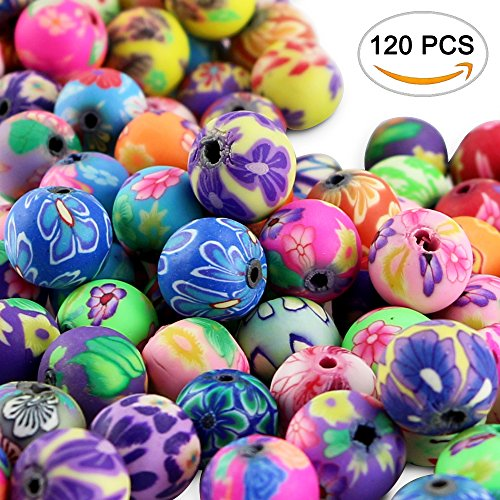 Nextnol 120pcs Fimo Polymer Clay Round Spacer Bulk Beads Handmade Colorful Pattern Beads for Jewelry Making (Assorted Color, 10mm)