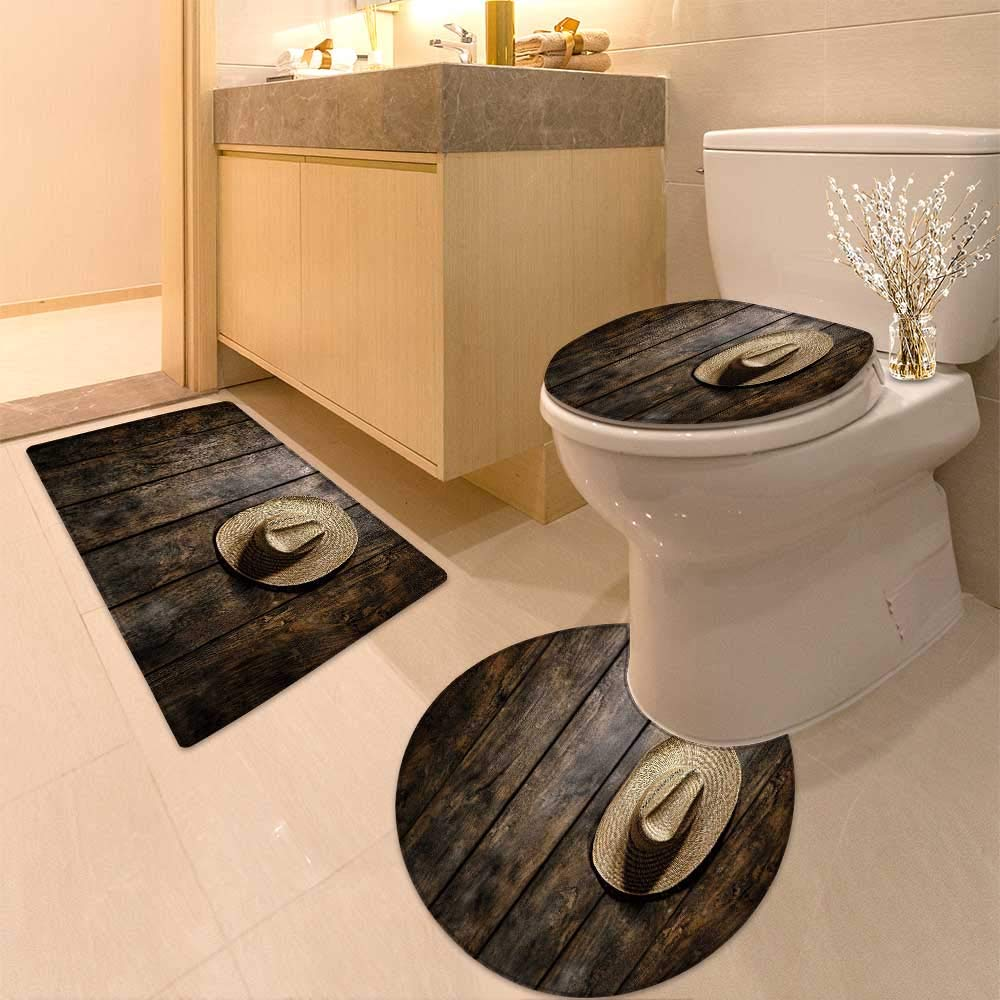 HuaWuhome U-Shaped Toilet Floor Rug Set American West Rodeo Country Farmer Traditional Straw hat on Distressed Wood Boards in a Vintage 3 Piece Bathroom Rug Set