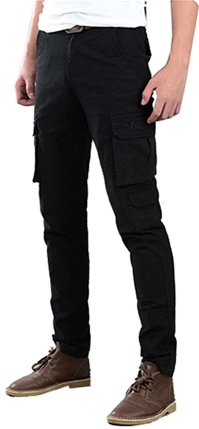 60dc315d Top2: Wsirmet Men's Slim Fit Straight Leg Elastic Sports Casual  Multi-Pockets Cargo Pants