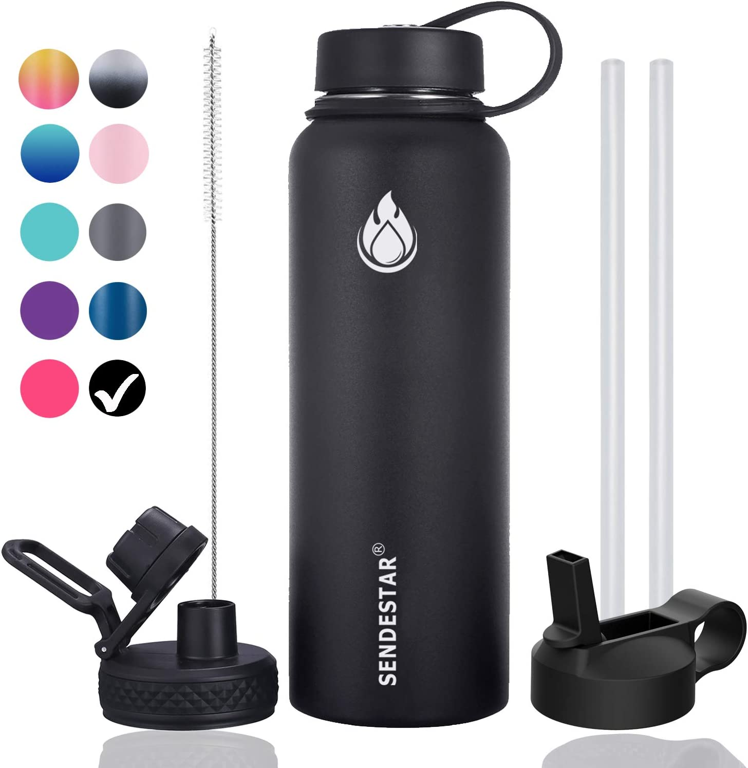 SENDESTAR 32 oz Double Wall Vacuum Insulated Leak Proof Stainless Steel Sports Water Bottle—Wide Mouth with Straw Lid & Flex Cap & Spout Lid (Black)