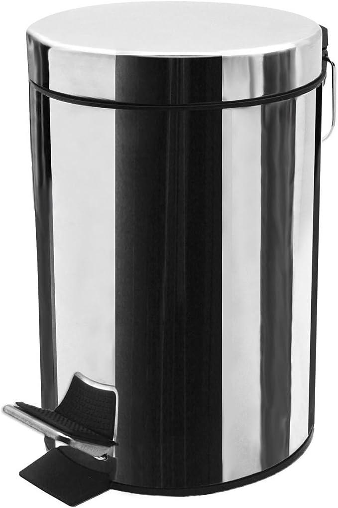 Harbour Housewares Poubelle de Salle de Bain avec p/édale et Seau int/érieur Poubelle de 3 litres Acier Matt