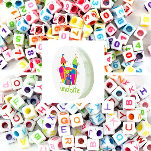 Unobite 1000 Pieces Alphabet Letter and Numbers Beads, 2 Style Cube Shape, A-Z Letters and 0-9 Numbers Beads for Jewelry Making, Bracelets, Necklaces, Key Chains with 1 Roll Elastic Beading Cord