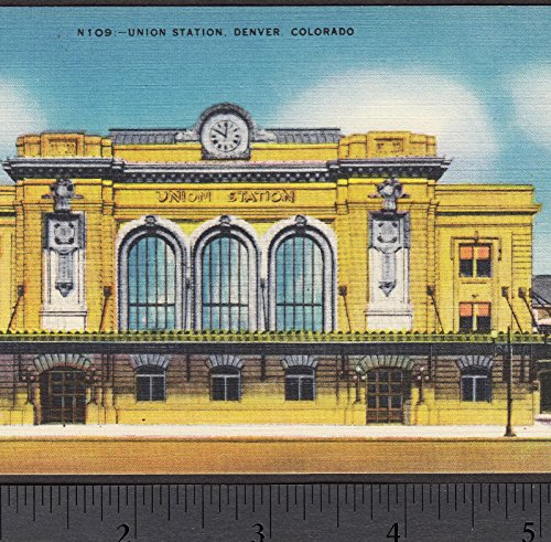 Antique Union Station Denver CO Train Depot Railroad City Downtown LoDo PostCard (Depot Train Postcard)