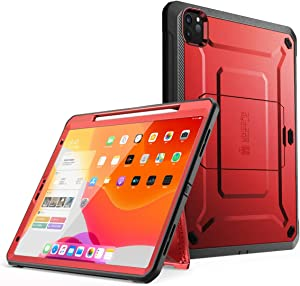 SUPCASE UB Pro Series Case for iPad Pro 12.9 inch 2020 Release, Support Apple Pencil Charging with Built-in Screen Protector Full-Body Rugged Kickstand Protective Case (Metallic Red)
