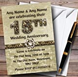 Titanium Gold Sparkly 15Th Personalized Anniversary Party Invitations