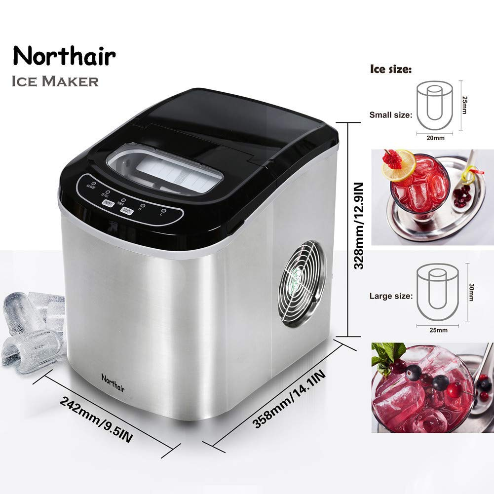 Ice Maker,HZB-12//SA Portable Ice Maker Machine LED Display with 26lbs Daily Capacity Stainless Steel