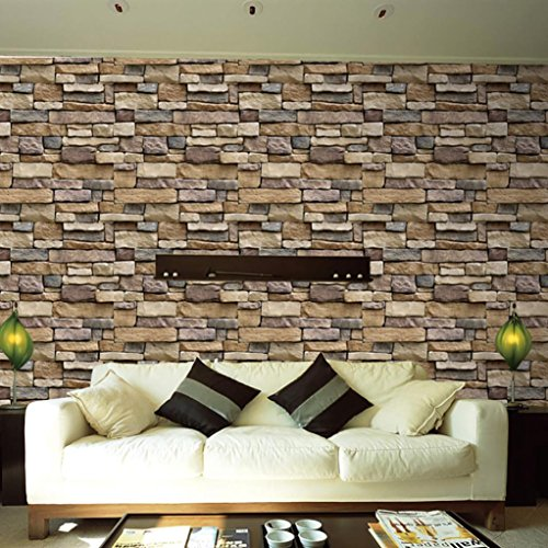 Diy Simulation Brick Wall Stickers,Hongxin Retro 3D Wall Paper Brick Stone Rustic Wall Paper Home Art Decor By 17.7