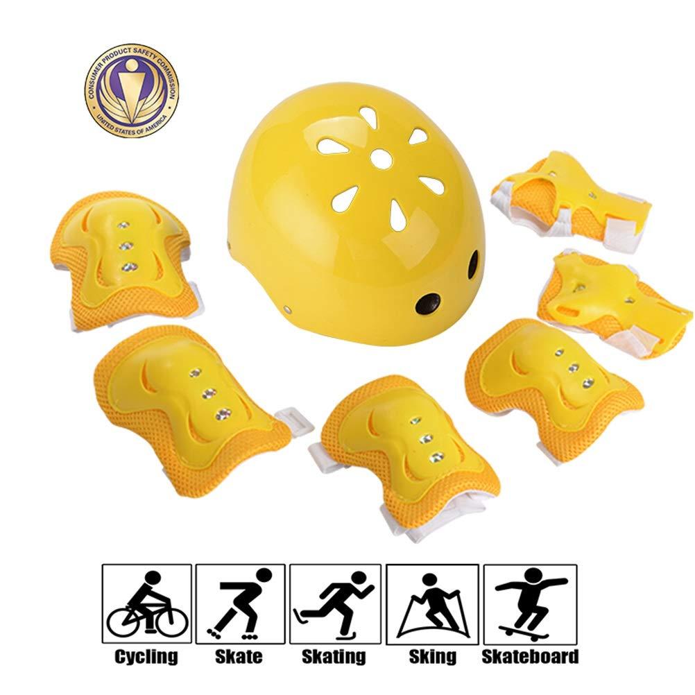GYL-JL Kid's Protective Gear Set Adjustable Helmet Yellow