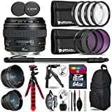 Canon EF 85mm f/1.8 USM Lens + 0.43X Wide Angle Lens + 2.2x Telephoto Lens + UV-CPL-FLD Filters + Macro Filter Kit + 72 Monopod + Tripod + 64GB Class 10 + Backpack + Tripod - International Version