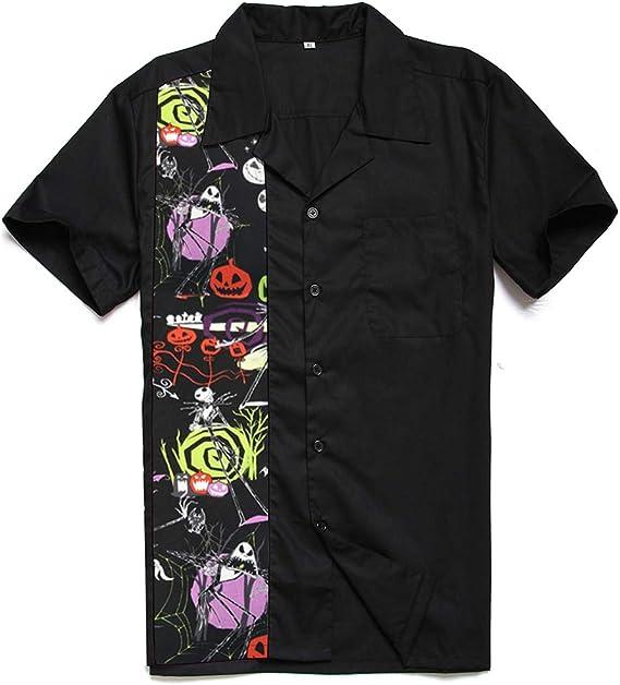 Candow Look Mens Printed Hombre Camisa Halloween Party Button Down Front Pocket Collar Shirts: Amazon.es: Ropa y accesorios