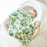 Muslin-Swaddle-Blanket-Baby-Bath-Washcloths-Ultra-Soft-Bamboo-Fiber-Covering-Cloth-Swaddle-Wrap-Perfect-Baby-Gifts-Baby-Registry-Baby-Travel-Bathing-47×47-inch-Palm-Leaves