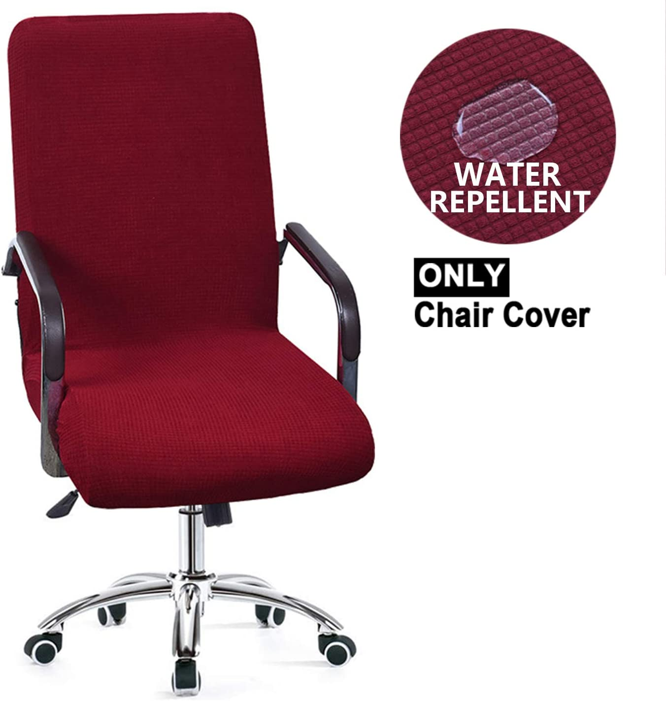 NC HOME High Stretch Office Chair Slipcover, High-Back Executive Swivel Office Computer Desk Chair Cover Modern Simplism Style Desk Chair Cover (Medium, Burgundy Red)