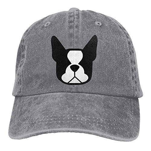 ji jing Boston Terrier Denim Baseball Caps Hat Adjustable Cotton Sport Strap Cap Men Women (Adjustable Charlie Hat Womens)