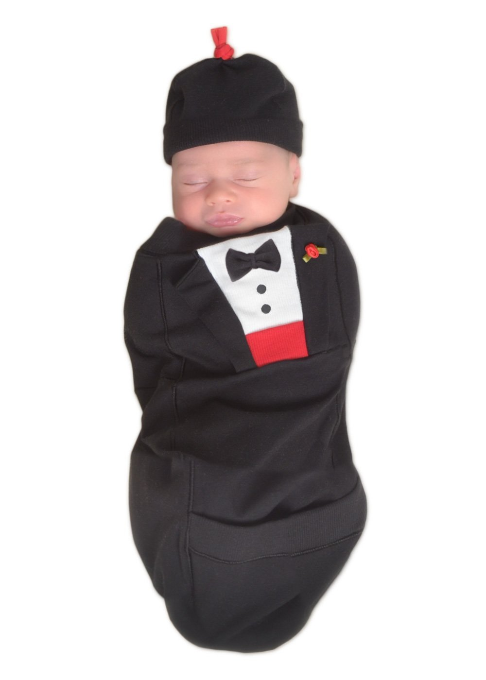Cozy Cocoon ''Super Easy Swaddling'' Outfit with Matching Hat - Tuxedo, 0-3 Months