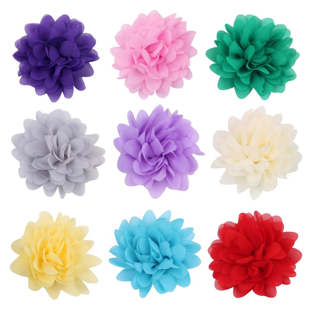 PET SHOW 2'' Plain Flowers Small Dogs Hair Bows With Clips Pet Medium Large Dogs Puppies Girls Cats Hair Clips Grooming Accessories Party Costumes Pack of 16 by PET SHOW (Image #1)