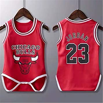 5f08498891a Sybaby Michael Jordan #23 Chicago Bulls Jersey Baby Infant and Toddler  Onesie Romper Colour Red