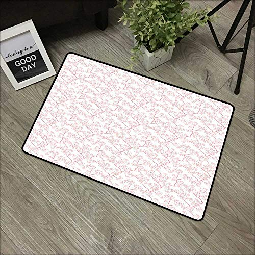 Printed door mat W31 x L47 INCH Cherry Blossom,Retro Revival Sakura Pattern in Soft Color Chinese Japanese Culture Art,Coral White Natural dye printing to protect your baby's skin Non-slip Door Mat Ca